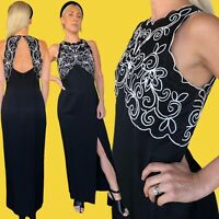 Vintage 1990s Scott McClintock USA Black Sleek Sexy Lace Evening Dress Small