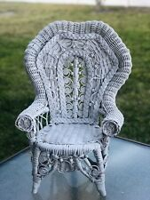 """Amazing White Vintage Wicker Chair, 18"""" Doll Detailed"""