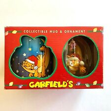 "Garfield the Cat Coffee Mug & Ornament Set Christmas Garfield on Moon 1996"""