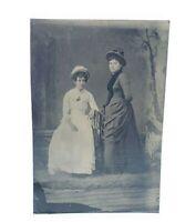 Antique Victorian Tintype Photograph Ladies w Hats & Dresses Fancy