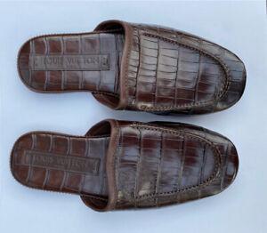 Genuine Louis Vuitton Corviglia Ski ClubCrocodile Leather Slipper Brown UK 5