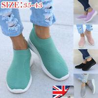 Women Ladies Mesh Comfy Sock Shoes Slip On Gym Sport Running Sneakers Trainers