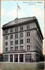 1910 Indiana, PA Postcard: Savings & Trust Co./Bank Building - Pennsylvania Penn
