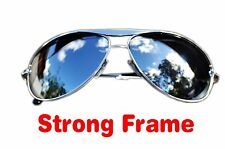 Aviators Silver Full Mirrored Strong Frame Sunglasses mens womens retro UV400