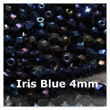 100 Iris Blue 4mm Czech Faceted Fire Polished Glass Beads