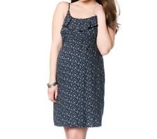 Maternity Dress NEW Oh Baby SMALL Blue Floral Ruffle NWT Sundress 4 6 Motherhood