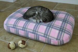 Bean Bag Cat Bed, Luxury Soft Orthopedic Pink Tartan Pet Cushion Nesting Bed, UK