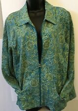 Koret Paisley Green Blue White Cotton Blend Jacket Size Large Zipper Front