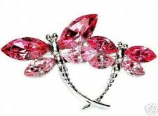 w Swarovski Crystal Pink Rose ~Mother Baby DRAGONFLY~~ Bridal Wedding Pin Brooch