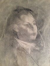 "original charcoal drawing framed "" young girl "" signed stuart kaufman 1926-2008"