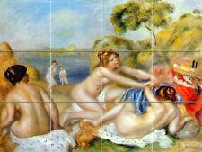 24 x 18 Art Renoir Three Bathers Nude Mural Ceramic Backsplash Bath Tile #1701