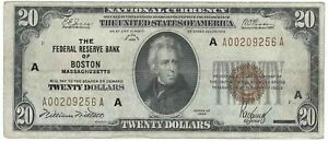 Series 1929 Federal Reserve Bank of Boston $20 National Currency