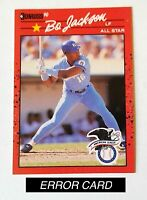 BO JACKSON 1990 DONRUSS ALL-STAR #650 ERROR CARD (RECENT MAJOR LEAGUE ON BACK)