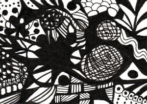 ACEO  Abstract Zen Doodle Tangle Design Meditation DoodleArt 101 Penny StewArt