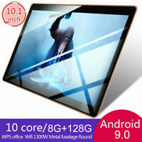 10.1'' 8GB+128GB Tablet PC bluetooth WIFI Android 9.0 Octa 10 Core 2 SIM Nero