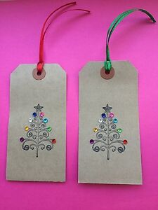 10 X HANDMADE LARGE  BUFF/ BROWN XMAS CHRISTMAS TREE   GIFT TAGS SPARKLE GEMS