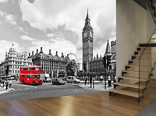 London Big Ben Red Bus Black White Wall Mural Photo Wallpaper GIANT WALL DECOR