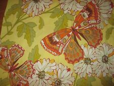 Pottery Barn Yellow Green Orange Butterflies Floral Fabric Shower Curtain