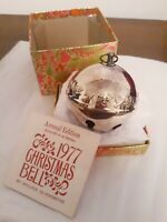 1977 7th Wallace Silver Plated Christmas Sleigh Bell Mistletoe&Doves Ornament 3""