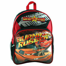 "Backpack 16"" Cars McQueen Burning Rubber 2 Compartment BkRd NWT"