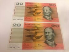 Australian 1989 $20 Bank Note Phillips & Fraser 2 Consecutive Serial Numbers