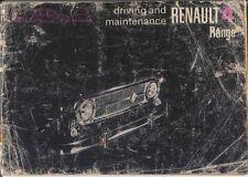 Renault 4 Estate & Van 1972-74 original Handbook In English Pub. No. 77 01 432