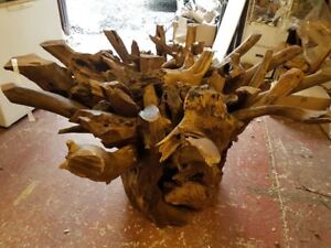 AWESOME  SOLID TEAK ROOT DINING TABLE TOUGHENED GLASS 150CM DIAMETER RECLAIMED