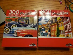 """PUZZLEBUG CraZart 18.25"""" X 11"""" Puzzle 300 Piece lot of 2 cars and houses"""