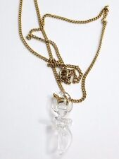 "Vintage Crystal Dancing Ballerina pendant necklace Gold Plated 24"" Long"
