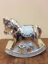 Silver Plated Boys Christening Money Box Gift BNIB Blue Rocking Horse Moneybox