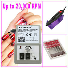 Electric nail drill file efile 20000 rpm 6 drill bits inc for acrylic gel nails