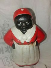 Black Americana African American cast iron coin bank woman.