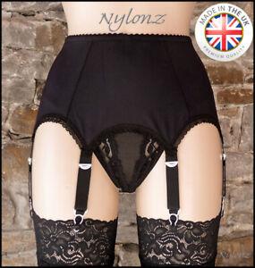 6 Strap Luxury Suspender Belt Black (Garter Belt) NYLONZ - Made In UK