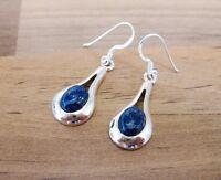 925 Sterling Silver - Semi-Precious Oval Gemstone Hook Earrings - SP02