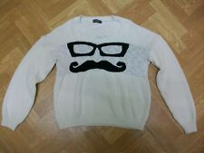 "ANYBODY Moustache and Sunglasses Face KnitSweater Sweatshirt Jumper Med (36/38"")"