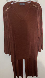 Travelers By Chico's Pants Suit 3 Top Brown Chain Shoulder