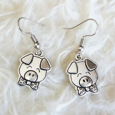 Pig Head with Bow Hook Earrings New Cute Womens Antique-Silver-Tone Metal Little