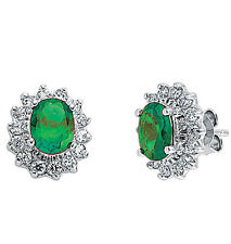 Emerald Earrings Cluster Stud Sterling Silver Studs Platinum Plated