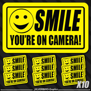 10 pack smile you're on camera sticker video security warning system alarm decal