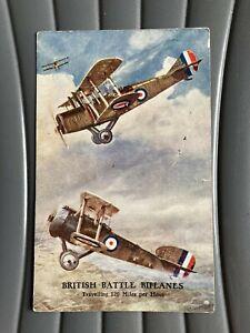 WW1 era Valentine's post card - RFC RAF British battle biplanes Sopwith Camel