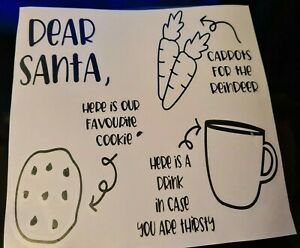 dear  santa Christmas eve plate VINYL DECALS mothers day gift diy home