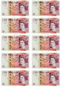 £50 x 10 Notes printed on Edible Icing sheet, cake toppers