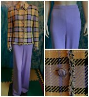St. John Collection Knits Lavender Yellow Jacket Pants L 10 12 2pc Suit Sequined