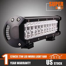 72W 12inch CREE LED WORK LIGHT BAR SPOT FLOOD COMBO UTE OFFROAD 4X4 ATV 4WD LAMP