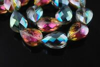 5pcs 24x17mm Faceted Flat Crystal Glass Teardrop Findings Loose Beads Rose Green