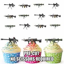PRECUT Army Military Machine Guns 12 Edible Cupcake Toppers Cake Decorations