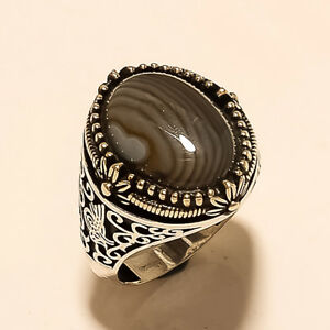 925 Sterling Silver Turkish Ottoman Tugra Design Ring Brown Striped Onyx Jewelry