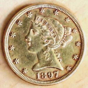 1897 $5 Gold Half Eagle XF Original Surfaces