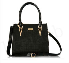 Serenade Croc Textured Leather Handbag - Black
