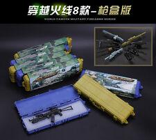 1/6 8PCS Machine Gun Rifle Barrett Sniper HK416 MSR AK74 ARX160 FNSCAR with case